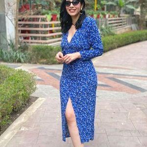 NWT ZARA | Blue Floral Printed Dress